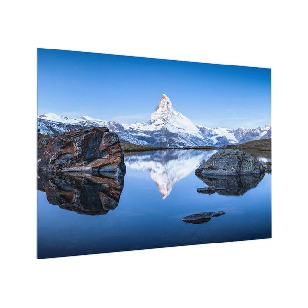 Spritzschutz Glas - Stellisee vor dem Matterhorn - Querformat 4:3