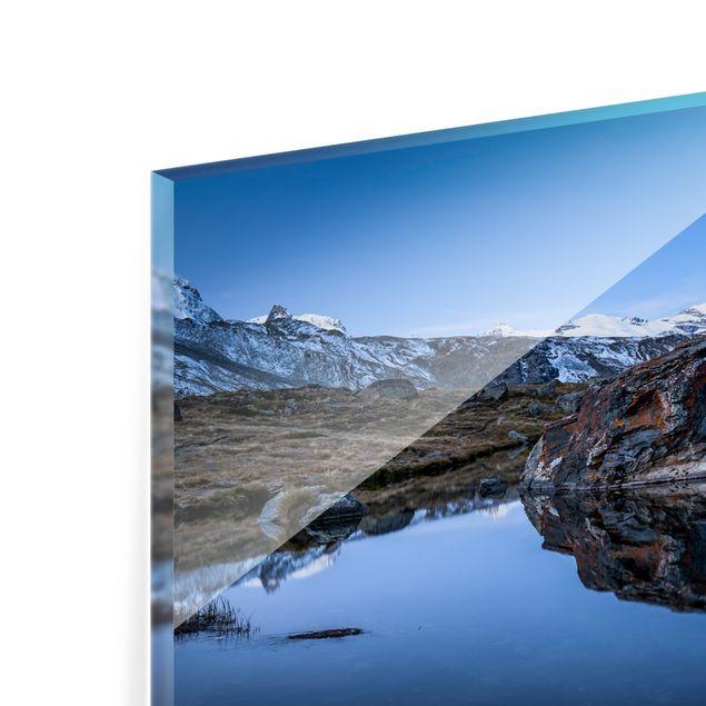 Spritzschutz Glas - Stellisee vor dem Matterhorn - Panorama 5:2