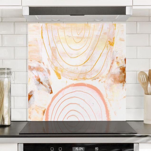 Spritzschutz Glas - Strahlende Farbbögen in Karamell - Quadrat 1:1