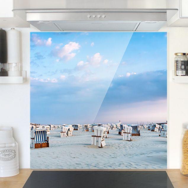 Spritzschutz Glas - Strandkörbe an der Nordsee - Quadrat 1:1