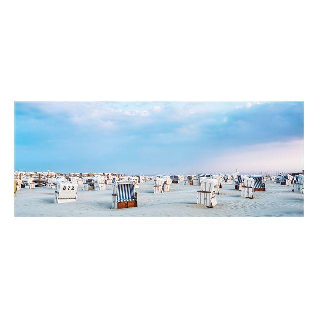Spritzschutz Glas - Strandkörbe an der Nordsee - Panorama 5:2