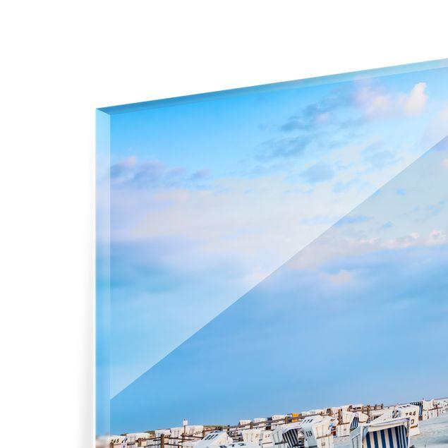 Spritzschutz Glas - Strandkörbe an der Nordsee - Querformat 3:2
