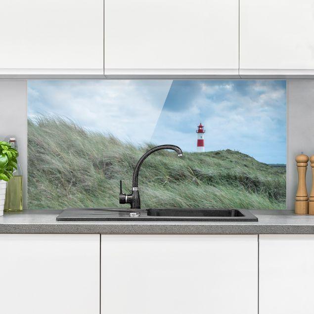 Spritzschutz Glas - Stürmische Zeiten am Leuchtturm - Querformat 2:1