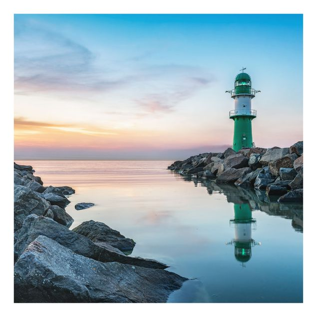 Spritzschutz Glas - Sunset at the Lighthouse - Quadrat 1:1