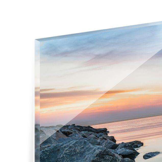 Spritzschutz Glas - Sunset at the Lighthouse - Panorama 5:2