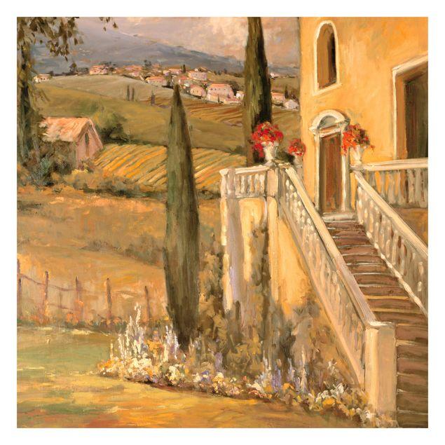 Fototapete - Italienische Landschaft - Haustreppe