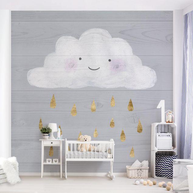 Fototapete - Wolke mit goldenen Regentropfen