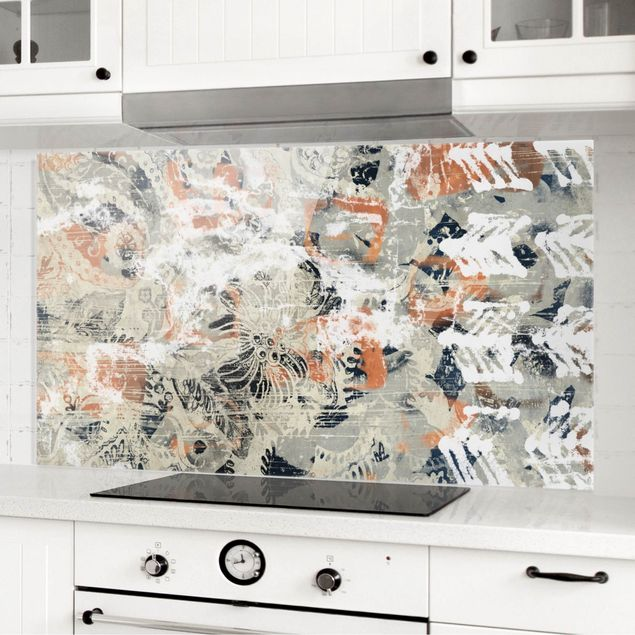 Spritzschutz Glas - Terracotta Collage II - Querformat 2:1