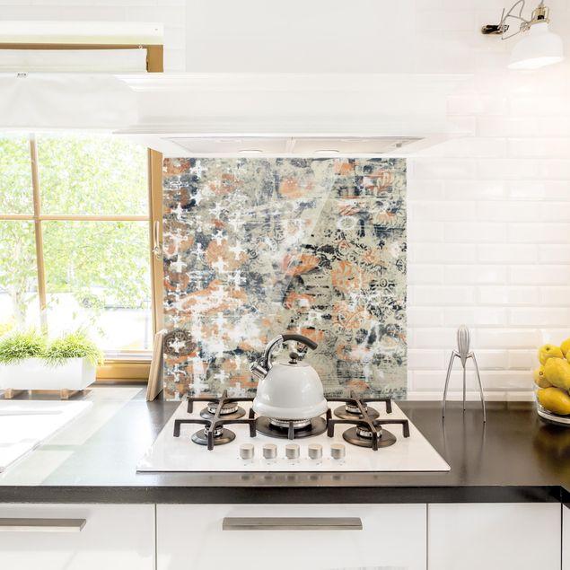 Spritzschutz Glas - Terracotta Collage - Quadrat 1:1