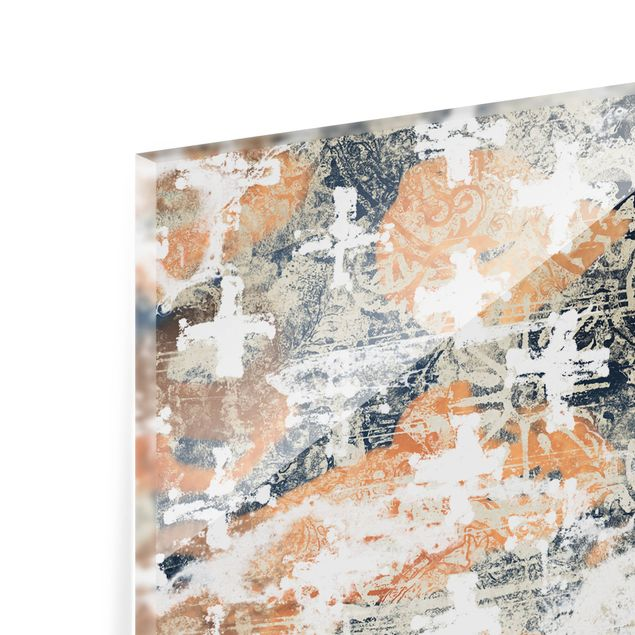 Spritzschutz Glas - Terracotta Collage - Querformat 2:1