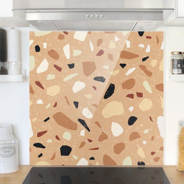 Spritzschutz Glas - Terrazzo Muster Florenz - Quadrat 1:1