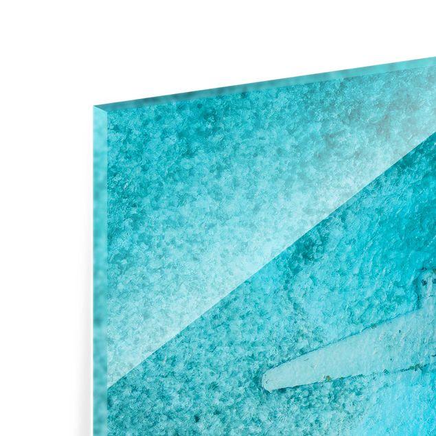 Spritzschutz Glas - Top View Flugzeugwrack im Meer - Quadrat 1:1
