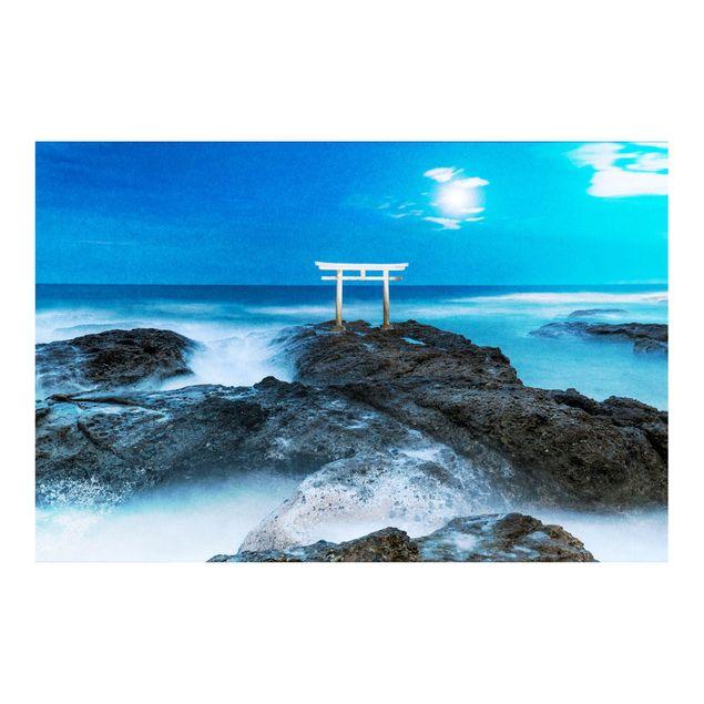 Metallic Tapete - Torii bei Vollmond am Meer