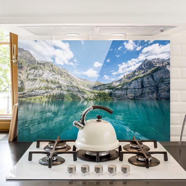 Spritzschutz Glas - Traumhafter Bergsee - Querformat 3:2