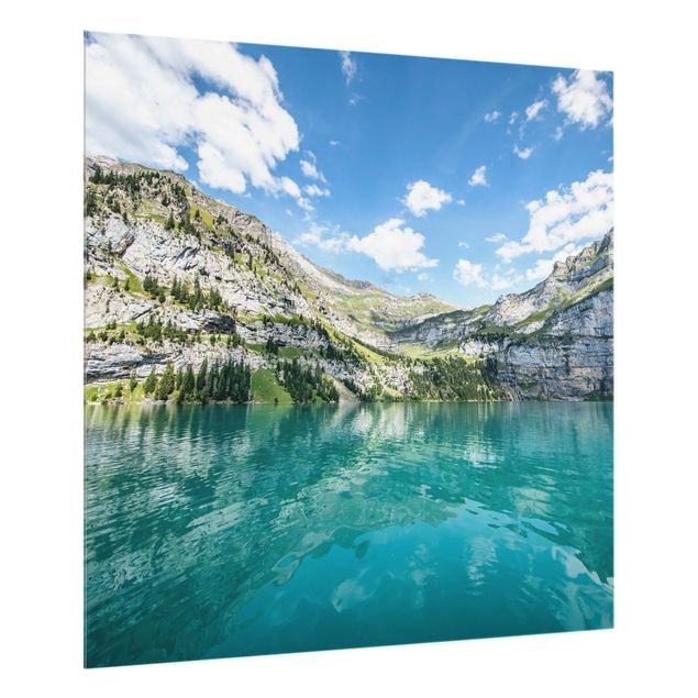 Spritzschutz Glas - Traumhafter Bergsee - Quadrat 1:1