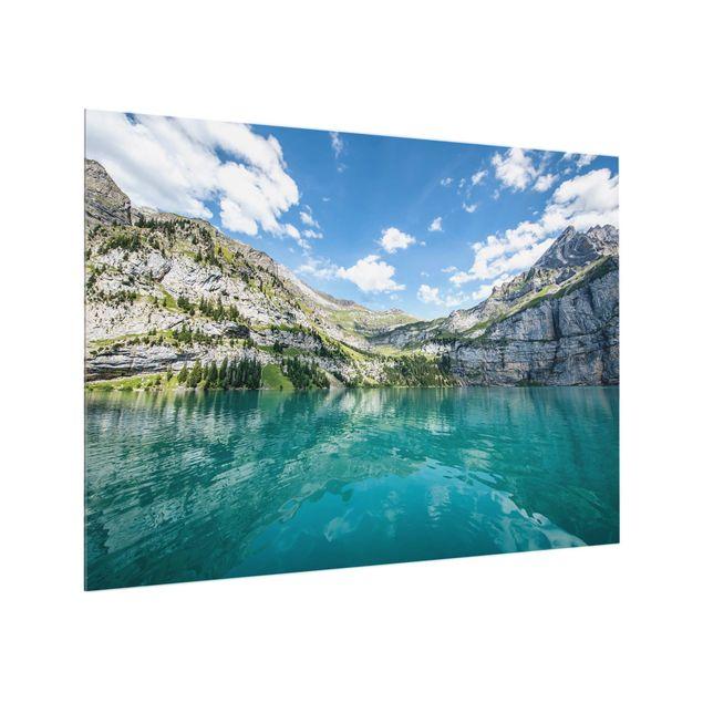 Spritzschutz Glas - Traumhafter Bergsee - Querformat 4:3