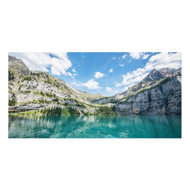 Spritzschutz Glas - Traumhafter Bergsee - Querformat 2:1