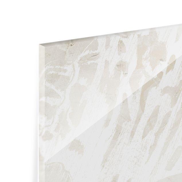 Spritzschutz Glas - Tritonmuschel Silhouette auf Leinen - Querformat 3:2