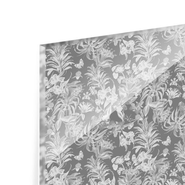 Spritzschutz Glas - Tropische Blumen vor Grau - Querformat 2:1