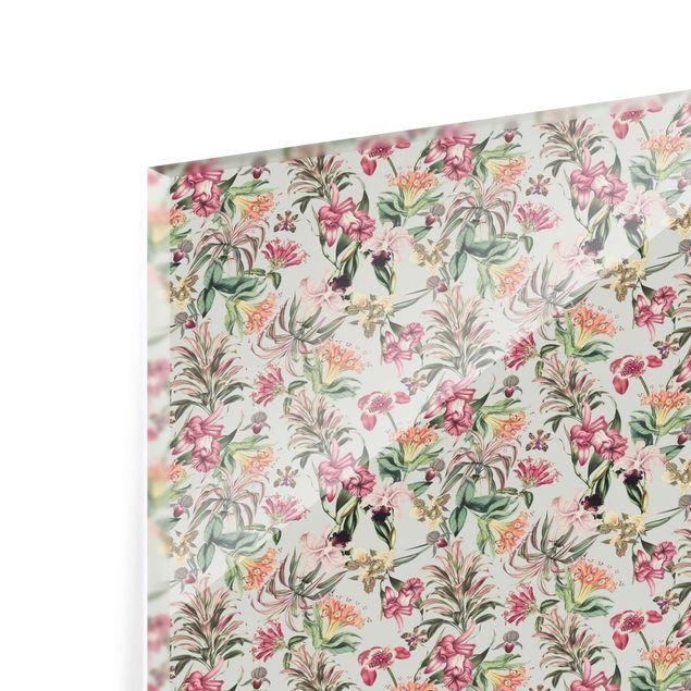 Spritzschutz Glas - Tropische Blumen vor Mint - Querformat 3:2