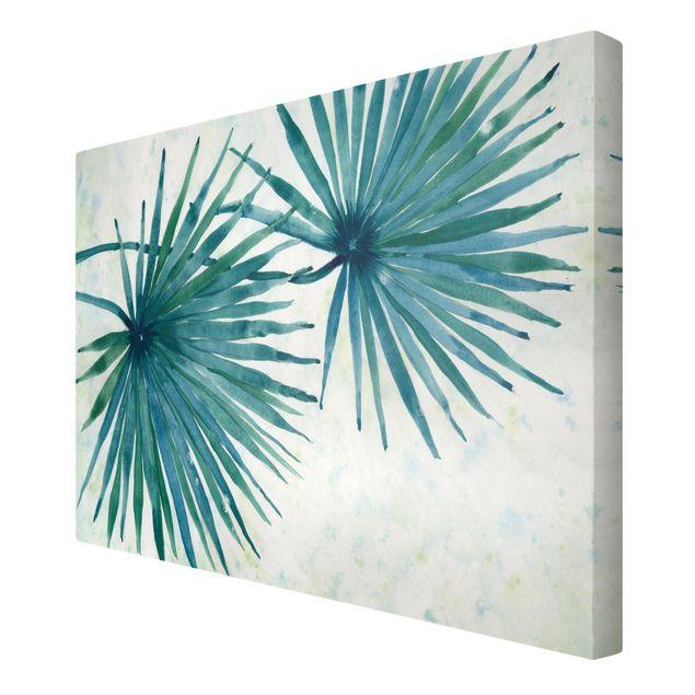Leinwandbild - Tropische Palmenblätter Close-Up - Querformat 3:2