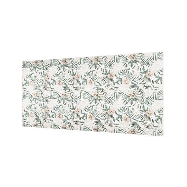 Spritzschutz Glas - Tropische Palmenbögen mit Rosen Aquarell - Querformat 2:1