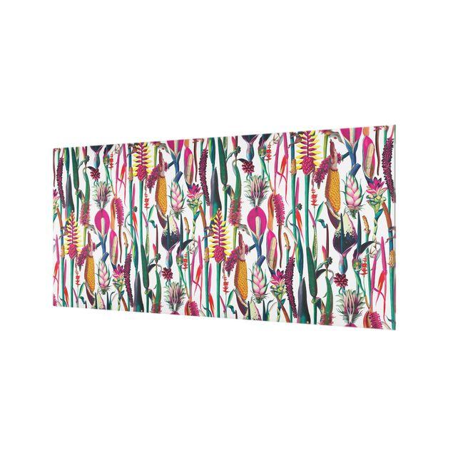 Spritzschutz Glas - Tropisches Luxus Muster XXL - Querformat 2:1