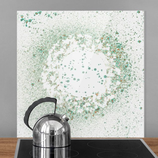 Spritzschutz Glas - Türkiser Mikrokosmos II - Quadrat 1:1