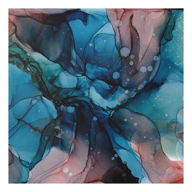 Spritzschutz Glas - Unterwasser in Petrol und Rot mit Gold - Quadrat 1:1