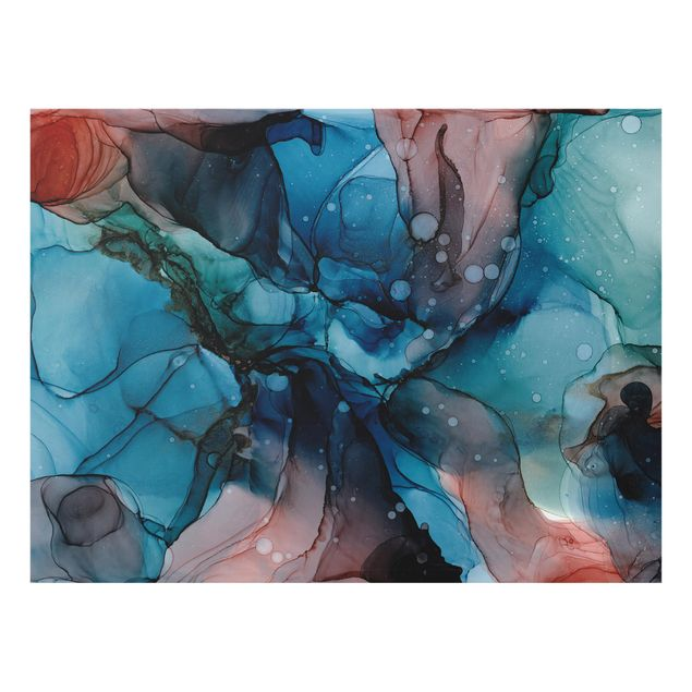 Spritzschutz Glas - Unterwasser in Petrol und Rot mit Gold - Querformat 4:3