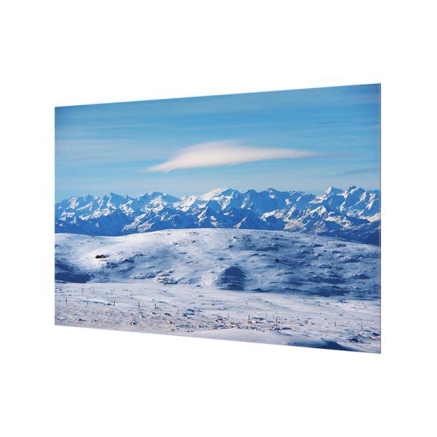 Spritzschutz Glas - Verschneite Bergwelt - Querformat 3:2