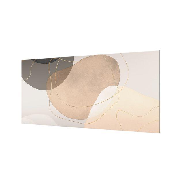 Spritzschutz Glas - Verspielte Impressionen in Beige - Querformat 2:1