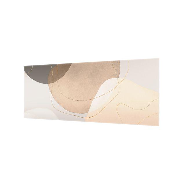 Spritzschutz Glas - Verspielte Impressionen in Beige - Panorama 5:2