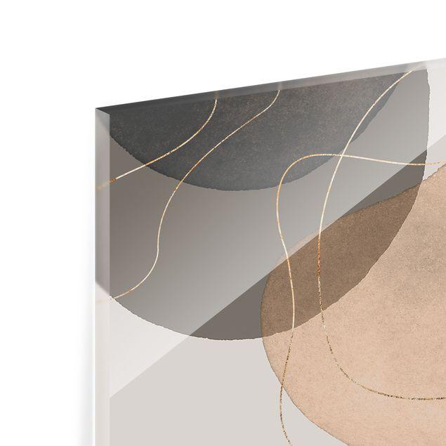 Spritzschutz Glas - Verspielte Impressionen in Beige - Querformat 3:2
