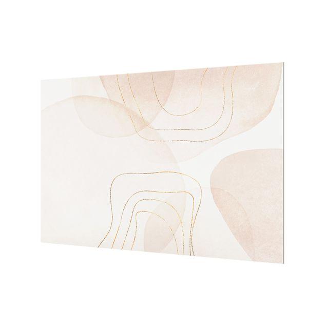 Spritzschutz Glas - Verspielte Impressionen mit goldenen Linien - Querformat 3:2