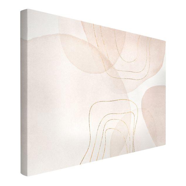 Leinwandbild - Verspielte Impressionen mit goldenen Linien - Querformat 3:2