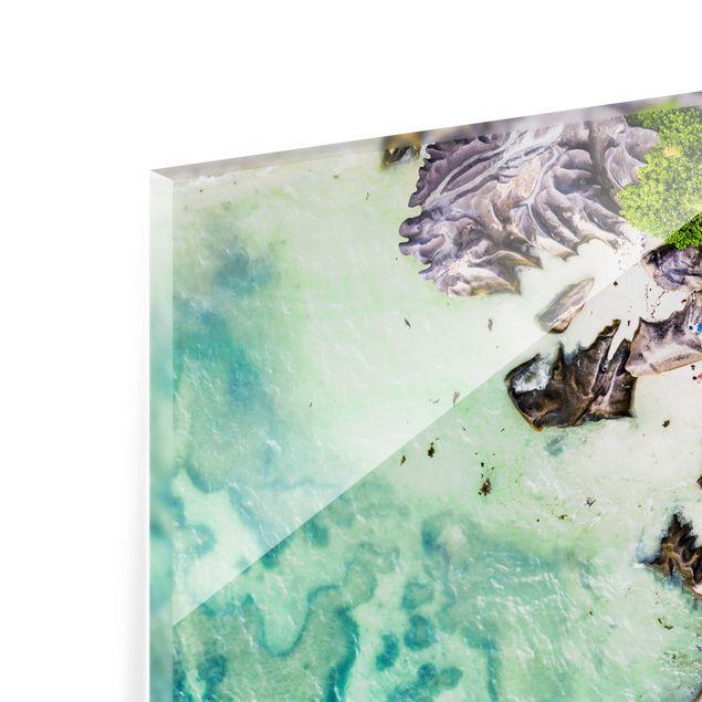 Spritzschutz Glas - Versteckter Strand - Querformat 2:1