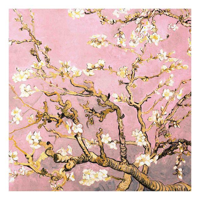 Spritzschutz Glas - Vincent van Gogh - Mandelblüte in altrosa - Quadrat 1:1