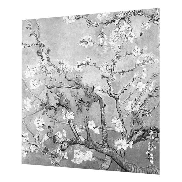 Spritzschutz Glas - Vincent van Gogh - Mandelblüte Schwarz-Weiß - Quadrat 1:1