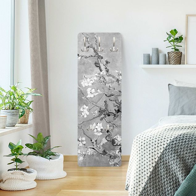 Garderobe - Vincent van Gogh - Mandelblüte Schwarz-Weiß