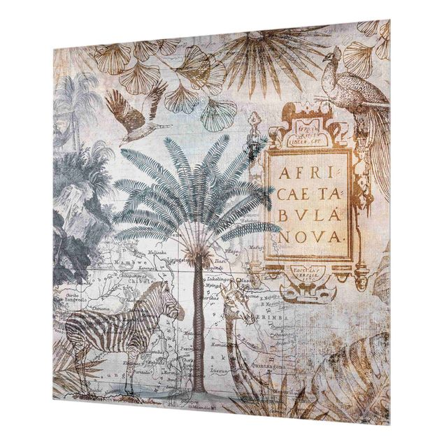 Spritzschutz Glas - Vintage Collage Landkarte Afrika - Quadrat 1:1