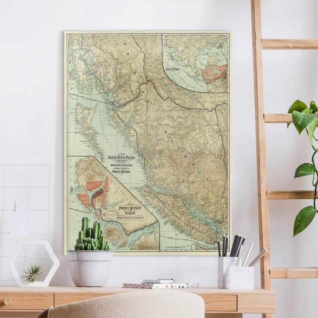 Leinwandbild - Vintage Karte British Columbia - Hochformat 3:4