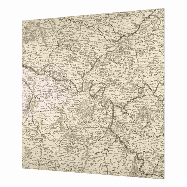 Spritzschutz Glas - Vintage Karte Frankreich - Quadrat 1:1