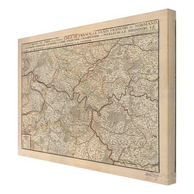 Leinwandbild - Vintage Karte Frankreich - Querformat 4:3