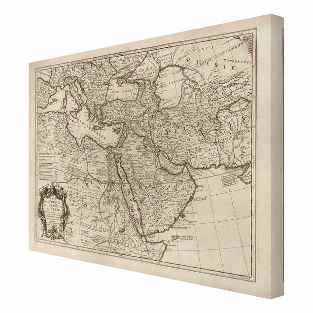 Leinwandbild - Vintage Karte Orient - Querformat 4:3