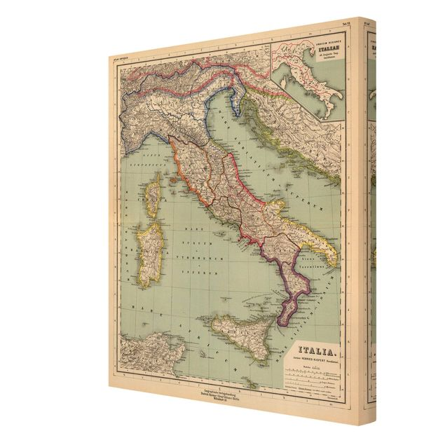 Leinwandbild - Vintage Landkarte Italien - Hochformat 3:4