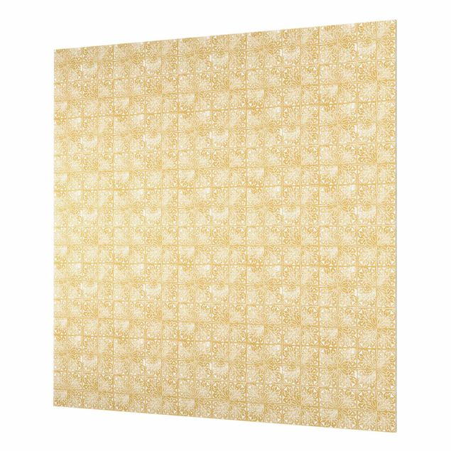 Spritzschutz Glas - Vintage Muster Art Deco Kacheln - Quadrat 1:1