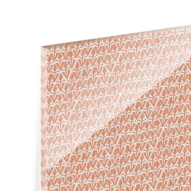 Spritzschutz Glas - Vintage Muster Art Deco Rauten - Querformat 2:1
