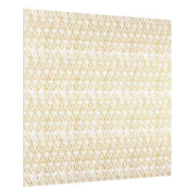 Spritzschutz Glas - Vintage Muster Filigrane Pflanzen - Quadrat 1:1