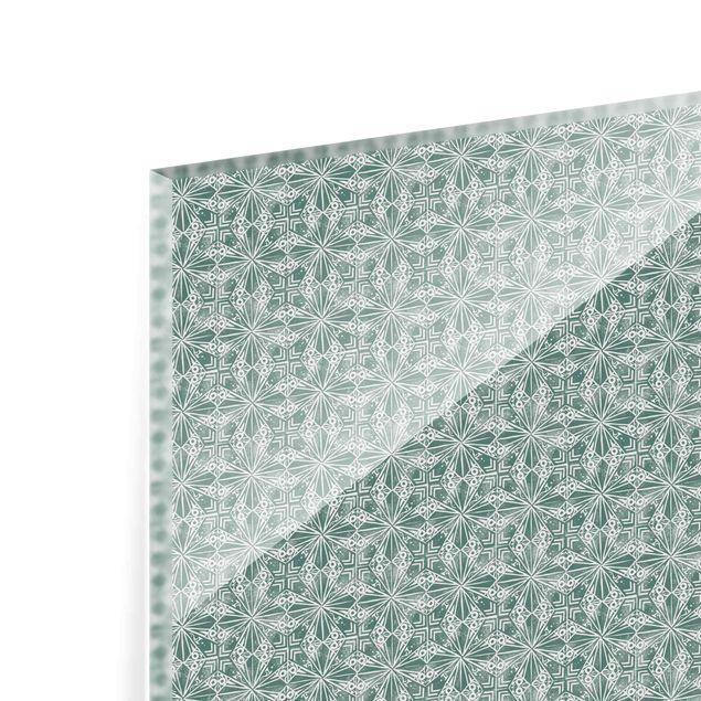 Spritzschutz Glas - Vintage Muster Geometrische Fliesen - Quadrat 1:1